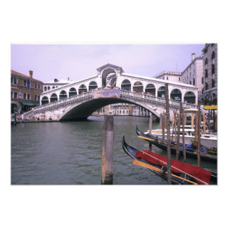 Gondolas and tourists near the Rialto Bridge Photo Print