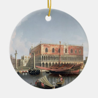 Gondolas before St. Marks Square, Venice Round Ceramic Decoration