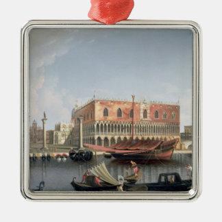 Gondolas before St. Marks Square, Venice Silver-Colored Square Decoration