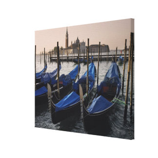 Gondolas by Saint Marks Square in Italy Stretched Canvas Prints