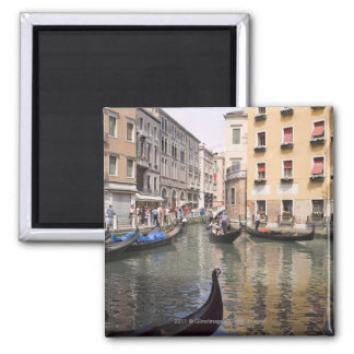 Gondolas in a canal, Venice, Italy Square Magnet