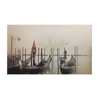 Gondolas in the fog, Venice, Italy Canvas Print