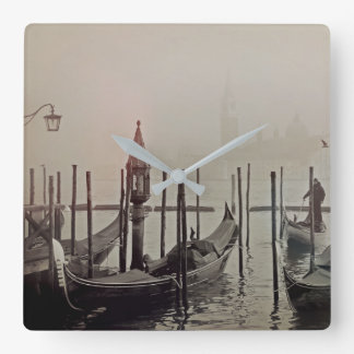 Gondolas in the fog, Venice, Italy Square Wall Clock
