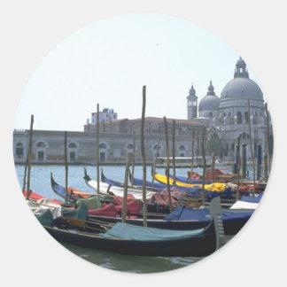 Gondolas in the Grand Canal Venice Italy Round Sticker