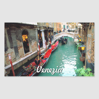 Gondolas On A Small Canal In Venice Rectangular Sticker