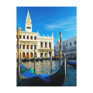 Gondolas On Grand Canal Near Doge's Palace Gallery Wrap Canvas