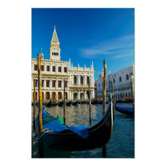 Gondolas On Grand Canal Near Doge's Palace Poster