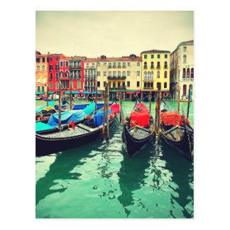 Gondolas On Grand Canal, Venice, Italy. Retro Postcard