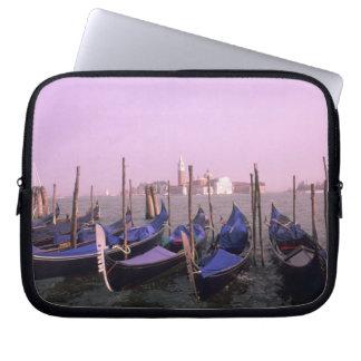 Gondolas ready for tourists in Venice Italy Laptop Sleeve