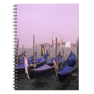 Gondolas ready for tourists in Venice Italy Notebook