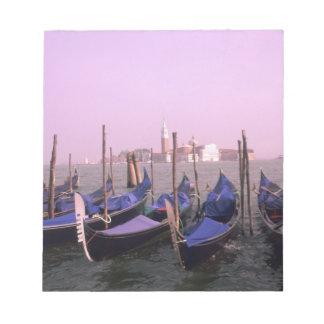 Gondolas ready for tourists in Venice Italy Notepad
