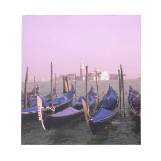 Gondolas ready for tourists in Venice Italy Notepads