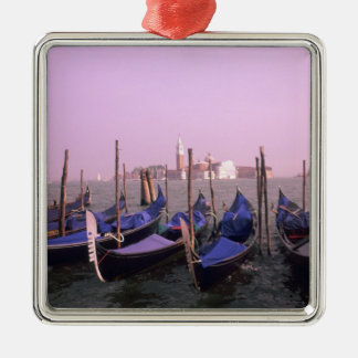 Gondolas ready for tourists in Venice Italy Silver-Colored Square Decoration