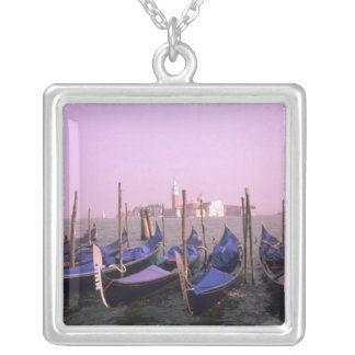 Gondolas ready for tourists in Venice Italy Silver Plated Necklace