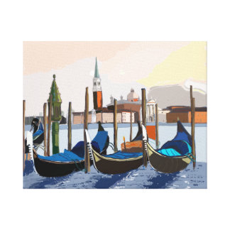 Gondolas Tethered by St Marks Square Venice Canvas Print
