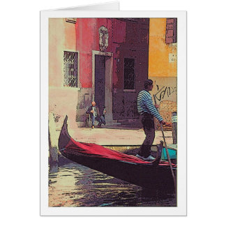 """Gondolier & Accordian Player in Venice"" Card"