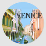 Gondolier in Canal in Venice Round Stickers