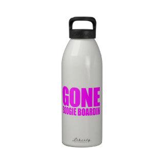 GONE BOOGIE BOARDING Meme - Hot Pink Water Bottle