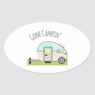 Gone Campin Oval Stickers