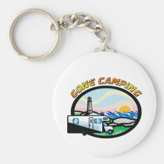 Gone Camping Basic Round Button Key Ring