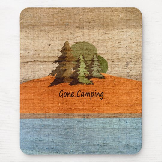 Gone Camping Wood Look Nature Lovers Mouse Mat