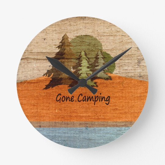 Gone Camping Wood Look Nature Lovers Round Clock