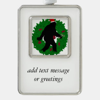 Gone Christmas Squatchin' With a Wreath Silver Plated Framed Ornament