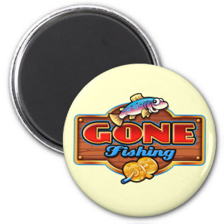 GONE FISHING 6 CM ROUND MAGNET