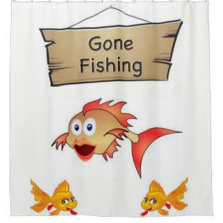 Gone fishing childrens showercurtain shower curtain