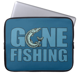GONE FISHING custom laptop sleeve