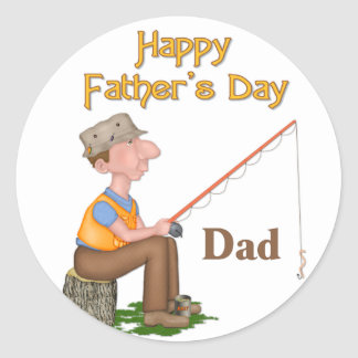 Gone Fishing Father's Day Round Sticker