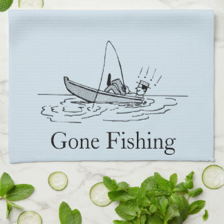 """Gone Fishing"" Fisherman in Boat Tea Towel"