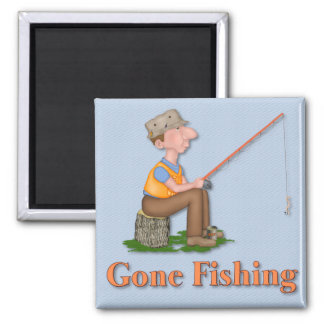 Gone Fishing Fisherman Square Magnet