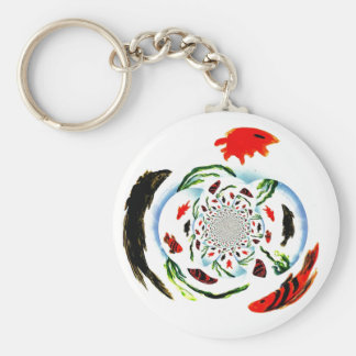 """Gone Fishing"" Fun Abstract Fish Key Ring"