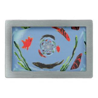 """Gone Fishing"" Fun Abstract Fish Rectangular Belt Buckle"