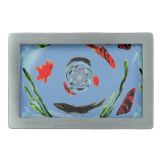 """Gone Fishing"" Fun Abstract Fish Rectangular Belt Buckles"