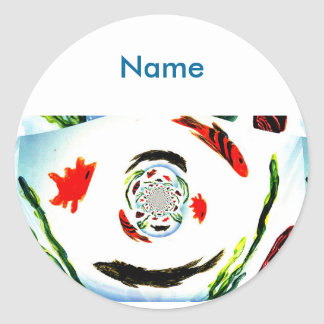 """""""Gone Fishing"""" Fun Abstract Fish Round Stickers"""