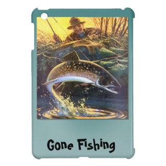 Gone Fishing; huge fish on the line iPad Mini Covers