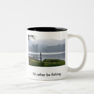 Gone Fishing, I'd rather be fishing. Two-Tone Coffee Mug