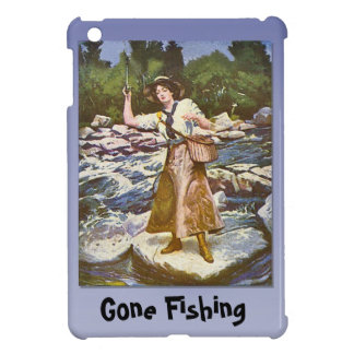 Gone Fishing; Lady fishing from a rock Cover For The iPad Mini