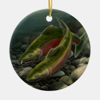 Gone Fishing Ornament Personalized Salmon Gift