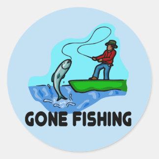 Gone Fishing Round Sticker