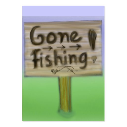 Gone fishing sign business card