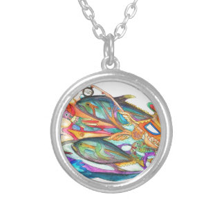 Gone Fishing Silver Plated Necklace