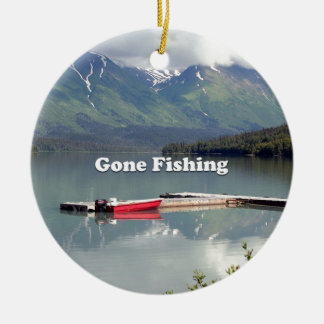 Gone Fishing: Trail Lake, Alaska Round Ceramic Decoration