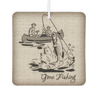 Gone Fishing Vintage Canoe Kayak Fish on Burlap