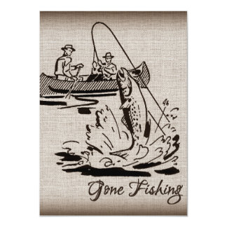 Gone Fishing Vintage Canoe Kayak Fish on Burlap 4.5x6.25 Paper Invitation Card
