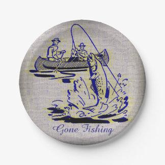 Gone Fishing Vintage Canoe Kayak Fish on Burlap Paper Plate