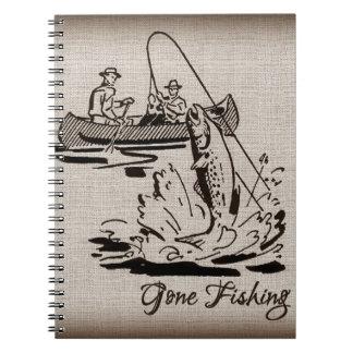 Gone Fishing Vintage Canoe Kayak Fish on Burlap Spiral Notebook