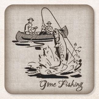 Gone Fishing Vintage Canoe Kayak Fish on Burlap Square Paper Coaster